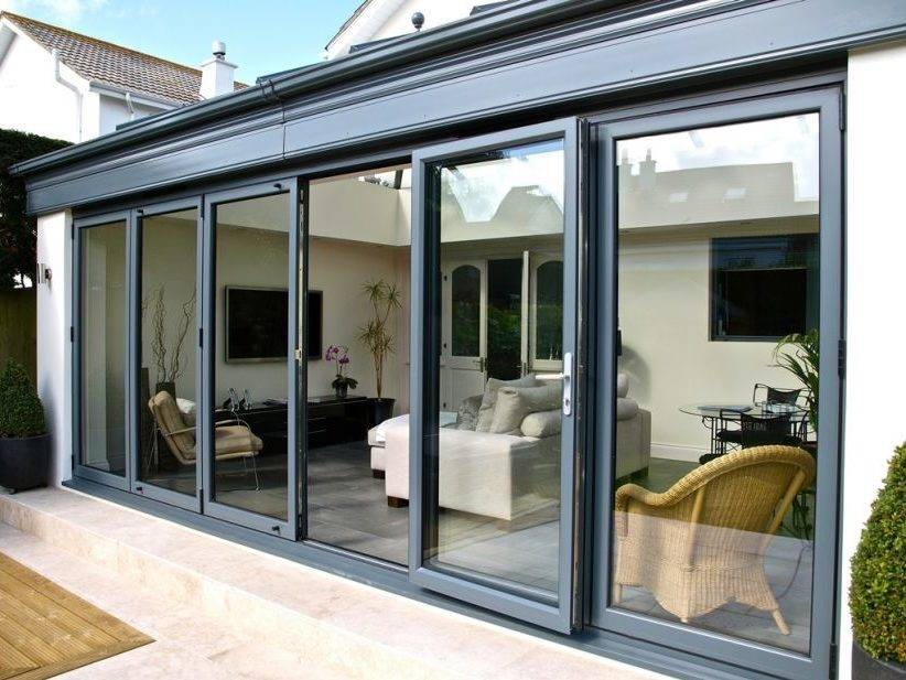 Grey bifold doors